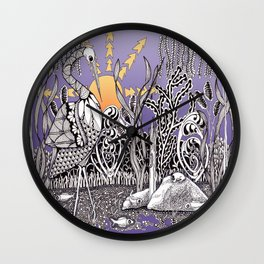 Zentangle Daylight in the Swamp Wall Clock