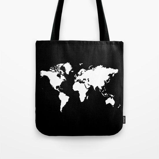 Black white world map Tote Bag