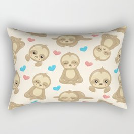 Sloth Pattern, Lazy Sloths, Slow Sloths, Hearts Rectangular Pillow