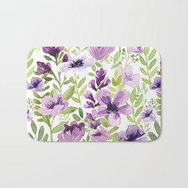 Watercolor/Ink Purple Floral Painting Bath Mat