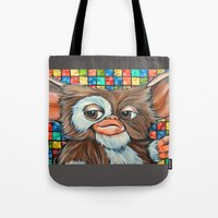 gizmo Tote Bags featuring Gizmo  by Portraits on the Periphery