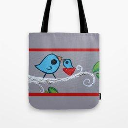 Mamma Bird - Blue on Grey Tote Bag