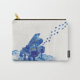 Blue Penguin Playing Blue Grand Piano Carry-All Pouch