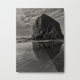Hay Stack Rock Reflection Metal Print