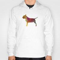 bull terrier Hoodies featuring Bull Terrier in watercolor by Paulrommer