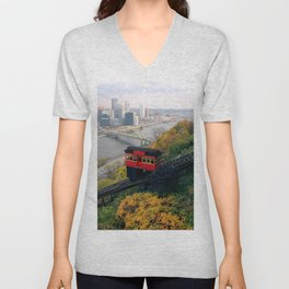 An Autumn Day on the Duquesne Incline in Pittsburgh, Pennsylvania Unisex V-Neck