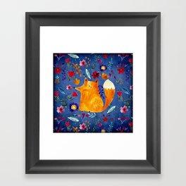 The Smart Fox in Flower Garden Framed Art Print