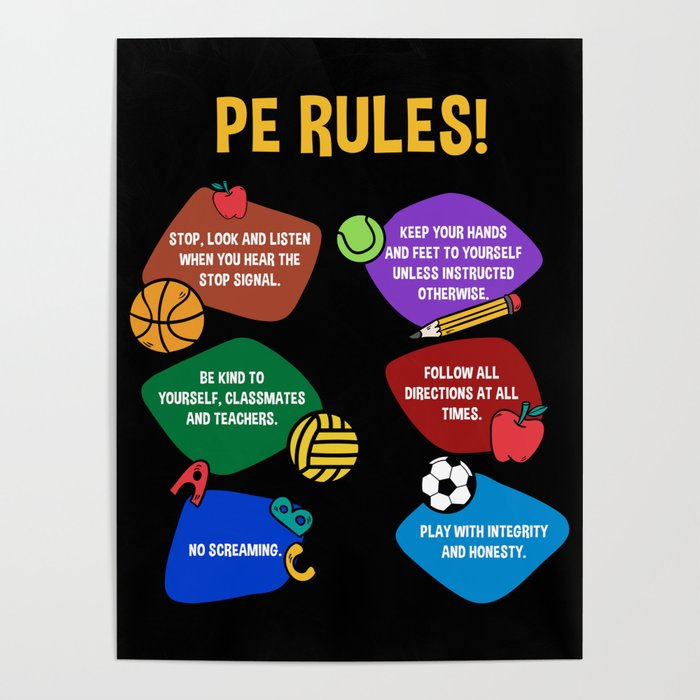 PE Physical Education Teacher Rules Poster