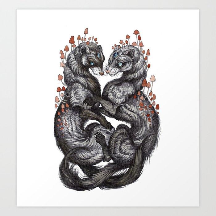 Ferret Companions Art Print