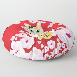 Sakura Maneki Neko Floor Pillow