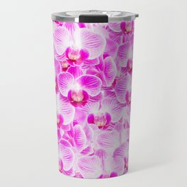 Pink Pattern Orchids Galore Travel Mug