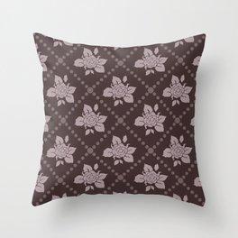 Mauve/Maroon Rose Pattern Throw Pillow
