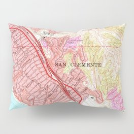Vintage Map of San Clemente California (1968) Pillow Sham