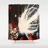 dbz Shower Curtains featuring DBZ Galaxy by DrewzDesignz