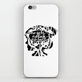 No Gate, No Lock, No Bolt in Black and White iPhone Skin