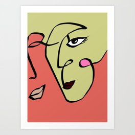 One Line Art, Line Art Couple, Minimal Wall Art, Face Line Art, Birthday Gift Art Print