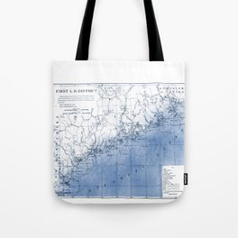 Vintage Blue and White Maine Coast Lighthouse Map With Watercolor Overlay Tote Bag