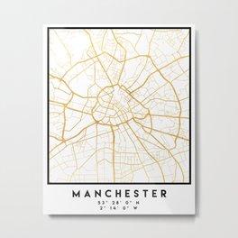 MANCHESTER ENGLAND CITY STREET MAP ART Metal Print