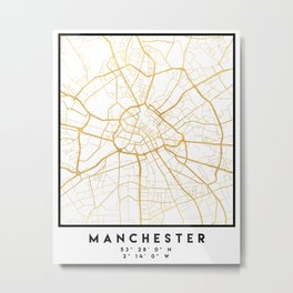 MANCHESTER ENGLAND CITY STREET MAP ART Metal Print