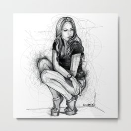 Xenia Tchoumitcheva Squatting Woman Metal Print