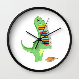 A Perfect Gift Tee With An Illustration Of A Cute Dinosaur Lifting Lots Of Books To Study T-shirt Wall Clock