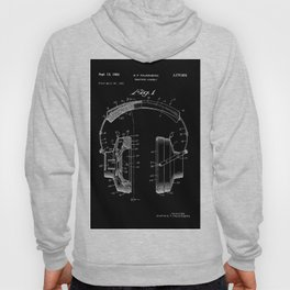 Headphones Patent - White on Black Hoody