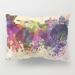 Copenhagen skyline in watercolor background Pillow Sham