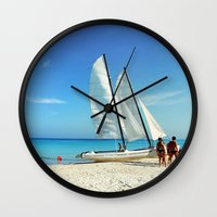 cuba Wall Clocks featuring Cuba Beach by Parrish