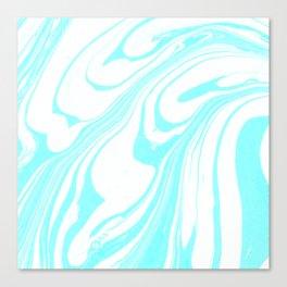 Blue Ink Swirl Marble Canvas Print