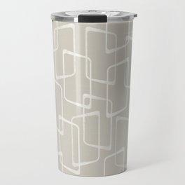 Beige / Light Warm Gray Retro Geometric Pattern Travel Mug