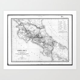 Vintage Map of Costa Rica (1903) BW Art Print