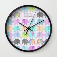 equality Wall Clocks featuring Equality Elephants by Jessica Latham