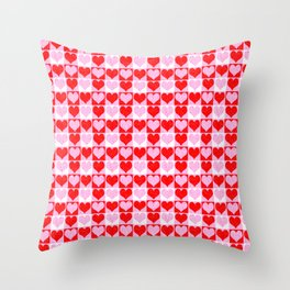 Love Heart Red Pink and White Check Pattern Throw Pillow