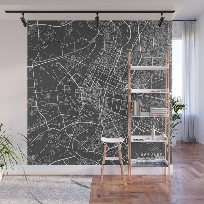 Bangkok Map, Thailand - Gray Wall Mural