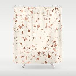 Rose Gold and Cream Terrazzo Shower Curtain