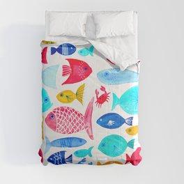 Fish Pattern - Ocean - Nautical - Sea - Swim - Crabs - Summer Comforters