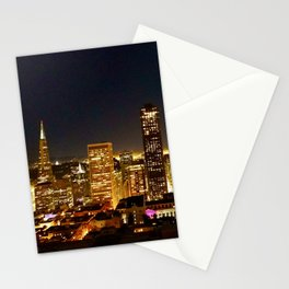 San Francisco at night, illuminated by the Moon Stationery Cards