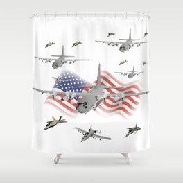 American Air Force Armada AC130 F22 F16 A10 Shower Curtain
