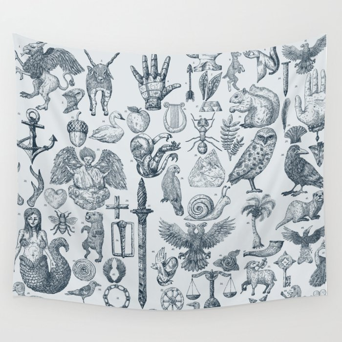 Heraldic Symbols And Their Meaning Wall Tapestry By Theheraldryco