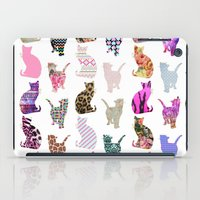 aelwen iPad Cases featuring Girly Whimsical Cats aztec floral stripes pattern by Girly Trend