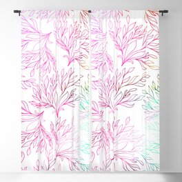 Hand painted magenta pink teal green watercolor floral Blackout Curtain