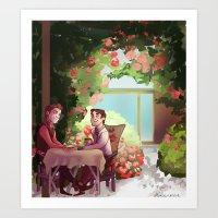 klaine Art Prints featuring Spring Klaine by CRAZiE-CRiSSiE