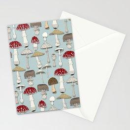 mushrooms celadon blue Stationery Cards