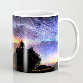 Northern lights moon landscape Coffee Mug