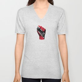 Trinidadian Flag on a Raised Clenched Fist Unisex V-Neck