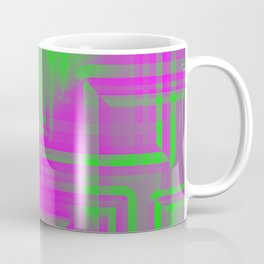 Diagonal pattern of pistachio squares on mirrored triangles from a reflective pyramid.  Coffee Mug