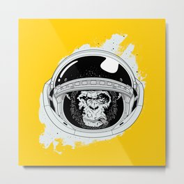 Monkey in white space Metal Print