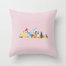 Princess character and their friends Throw Pillow