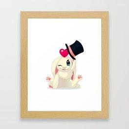 cute cartoon Funny Bunny with topper Framed Art Print