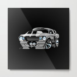 Classic Sixties American Muscle Car Cartoon Metal Print